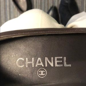 Chanel leather loafers with chains